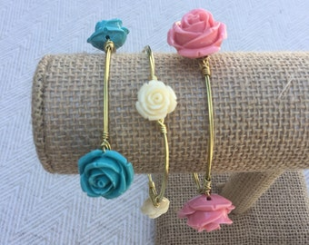 Flower Floral Wire-Wrapped Bangle Bracelet: Blooming Bangles