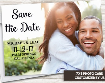 Save the Date Photo Card Announcement Digital 7x5 Couples Save Our Date Black Personalized Wedding