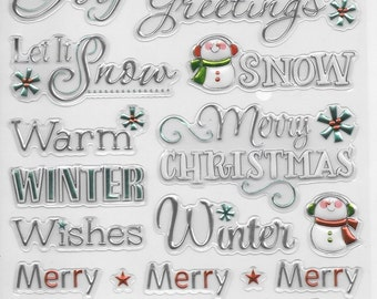Foil Embossed Stickers --  NEW  (#1937)  --  Words of the Season #4 -  Christmas