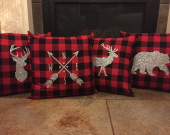 Set of 4 Buffalo Plaid Pillow Covers with Deer, Elk, Bear and Compass, Deer Pillow, Buffalo Plaid, Plaid Flannel, Elk Pillow, Bear, Compass