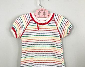 Super Cute Rainbow Stripe Knit Top by Knit Togs Size 3t - OSVKC0268