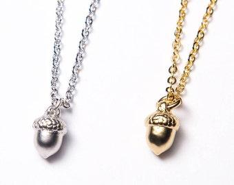 Acorn necklace. Gold Acorn Necklace. Silver Acorn Necklace.