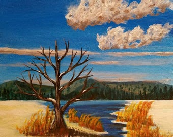Landscape Painting, Winter Painting, Canvas art, Canvas Painting, Square painting, 12x12, paintings on canvas, one of kind art, good vibes