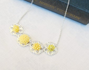 Yellow Botanical Necklace Jewelry - Jewellery Flower Floral Rose Gift Silver - Boho Bohemian For Women Chain Bib Dainty Monochrome Ombre