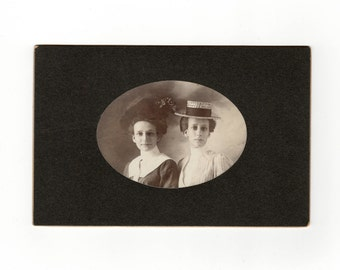 Two girls in hats, antique cabinet card photo