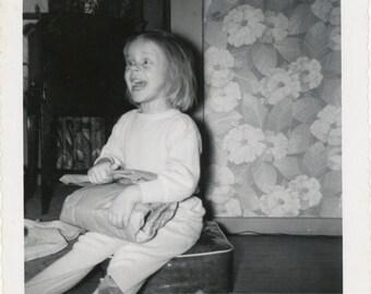 vintage photo 1950 Crazed Little Demon Girl Abstract Expression Wild Eyed Snapshot