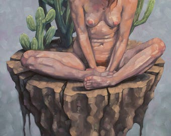 "Original Nude Oil Painting, Imaginative Figurative Art, Contemporary Southwestern Painting with Cactus - ""Vivarium with Chichipe"""