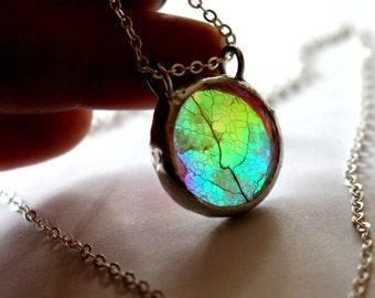Greenery, Botanical Jewelry, Real Leaf Necklace, Pressed Flower Pendant Rainbow Leaf Glass Pendant Skeleton Leaf Necklace Real Plant Jewelry