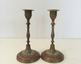 1940's Brass - Screw Together - Reverse Painted - Candlestick Set of (2)