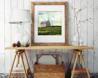 "Barn Print: Mixed Media Photography, Farm Barn Art, Block Island Art, Rhode lsland Print, 8""x8"" (203mm) or 12""x12"" (304mm) ""Coastal Barn"""