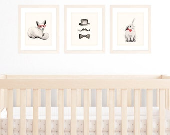 Watercolor Animals nursery art prints - Fox and Bunny with red watercolour accents