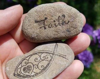 Faith stones, memorial stones, ebenezer stones, set of 2