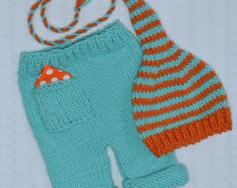 Newborn Baby Knit Outfit BaBY PHoTo PRoPs Boy Girl Hat Pants SET Hankie Pocket Pants AQuA ORaNGe Stripe LoNG TAiL Stocking Cap CHooSE CoLOR