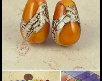 Teardrop Lampwork Glass Bead Pair with Organic Web Small Orange