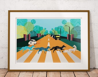 Abbey Road Foxes - The Beatles Inspired  Illustrated poster, Fine Art Giclee Prints in A3 or A2 sizes. Wall Art, Home Decor.
