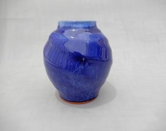 Pottery Vase - Royal Blue Spherical Ceramic Vase - Handmade Cobalt Blue Glazed Terracotta