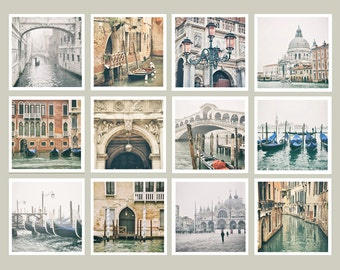 Venice Print Set, Venice Wall Art, Italy Photography, Gallery Wall, Europe Wall Art, Europe Decor, Gift for Traveler, Venice Gift, 5x5
