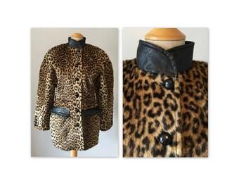 Vintage 80s Faux Fur S Leopard Print Dolman Sleeves Pleather Trim
