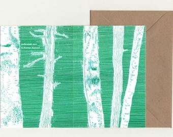 2 Grusskarten-Set Riso Druck Bäume Radierung