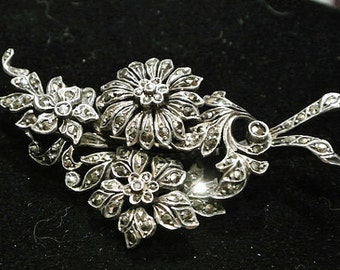 Antique Sterling Silver Marcasite Brooch