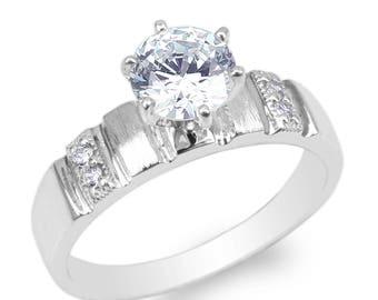 JamesJenny Womens 10K/14K White Gold 1.0ct Round CZ Fancy Wedding Ring Size 4-10