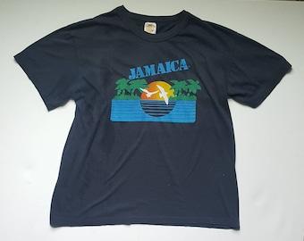 Early 80's Jamaica Black Tee - Vintage L
