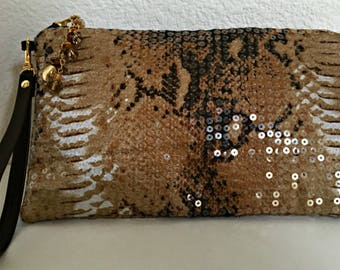 Clutch Bag, Wristlet Sequin, Evening Clutch, Purse with Strap, Brown Clutch, Handbag, Pouch, Wristlet with Leather Strap - Handmade