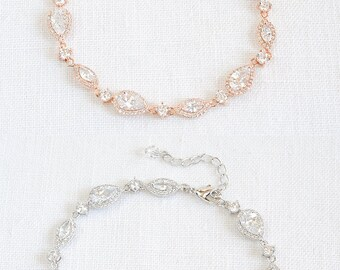 Bridal Bracelet, Wedding Bracelet, Rose Gold Bridal Bracelet, Crystal Marquise and Teardrop Bracelet, Wedding Bridal Jewelry, VICTORIA
