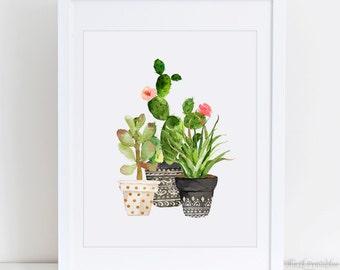 Cactus Plant Set Printable, Succulent Printable, Cactus Printable, Wall Art Printable, Watercolor Wall Art, Printable Cactus, Succulent Art