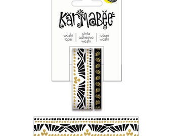 Karmabee Black and Gold Boat Pattern Washi Tape
