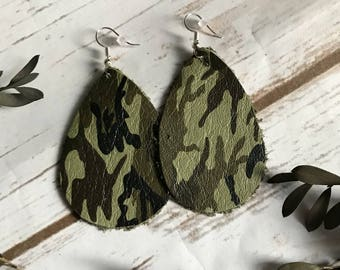 Camo Camoflauge Leather Teardrop Earrings