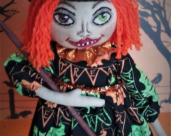 Devia the Witch ~ Folk Art One Of A Kind  Pumkin Patch Halloween Collectible Doll