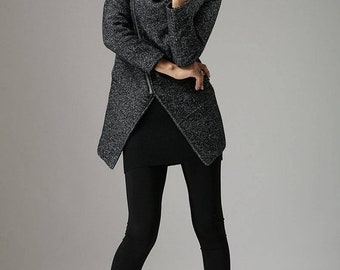 Wool coat, winter coat, hooded coat, warm coat, women coat, women winter coat, black coat, Asymmetrical coat, Cowl Neck, Gift for her 735