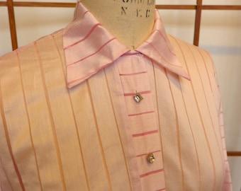Vintage 50s Cotton/Nylon Pink Striped Blouse - Large