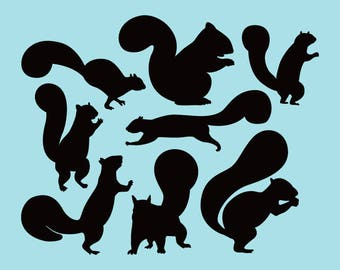 SVG | DXF | PNG Cut Files, Silhouette Squirrel Cutting File, Silhouette Squirrel Svg Files, Silhouette Squirrel Cricut File Instant Download