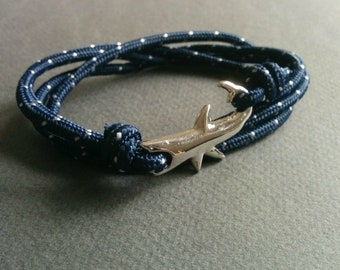 Navy cord multi layer shark bracelet.