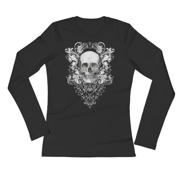 Baroque Skull Ladies' Long Sleeve T-Shirt