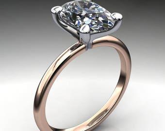 naked shay ring – 2.5 carat elongated oval ZAYA moissanite engagement ring, two tone ring, colorless moissanite
