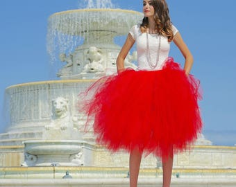 Tulle skirt - Red tulle skirt - Tea length tulle skirt - Tulle skirt- Bridal tulle skirt- Wedding tulle skirt- Wedding dress- Formal skirt