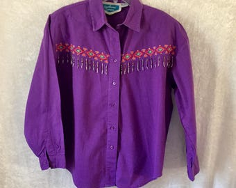 Vintage 1980's Western Shirt, Western Blouse, Purple with Embroidery and Beaded Fringe, Ladies Large, Southwest Canyon