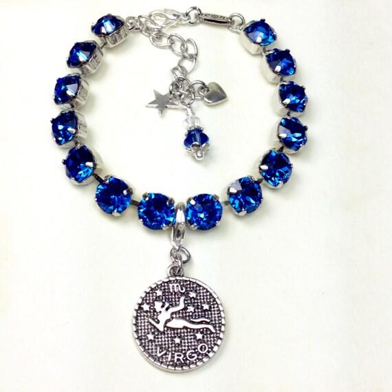 Swarovski Crystal 8.5mm -September/ Virgo Birthstone Bracelet With Zodiac Charm - Great Birthday Gift - Sapphire Birthstone - FREE SHIPPING