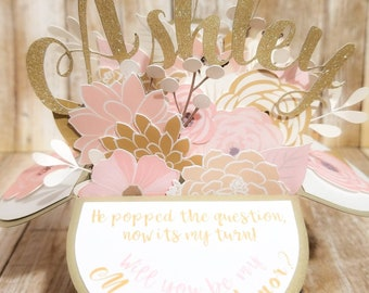 Pink & Gold Bridesmaid Proposal Pop Up Box, Wedding Party Proposal Card, Bridal Party Proposal, Pop Up Box Card, Bridesmaid Proposal Card