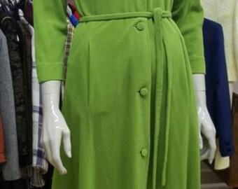 Delightful apple green 60s Bergdorf Goodman duster coat