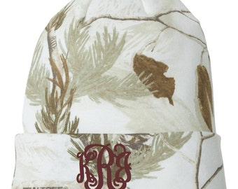 Monogrammed White Camo Beanie/Monogrammed Toboggan/Monogrammed Knit Hat/Monogrammed Winter Hat/Christmas Gifts/Personalized Gifts