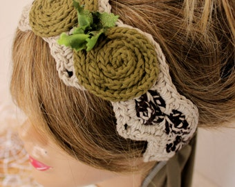 Beige Crochet headband, Beige headband, Beige mesh tape, Handmade headband, Bohemian hair band, Women hair bands, Appliqued flower headband