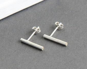 Bar Earrings, Bar Stud Earrings, Bar Post Earrings, Minimal Bar Studs, Sterling silver Bar Earrings, Modern Jewelry, Gift for Girl