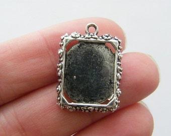 5 Frame pendants 25 x 18mm antique silver tone FS238