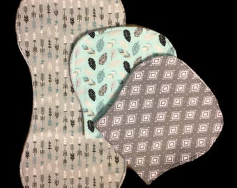 Baby burp cloths, pack of three or individuals, burp rags, baby boy, baby shower gift, contour burp cloths