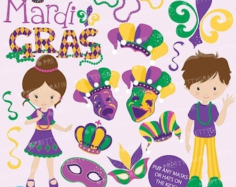 80% OFF SALE Mardi Gras clipart commercial use, vector graphics, digital clip art, digital images - CL640