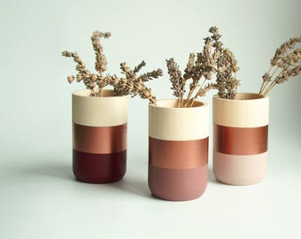 Natural Wooden Vases - Home Decor - Copper Blush Burgundy Paint - Homeware - Set of 3 - Livingroom Accessories - gift for Her